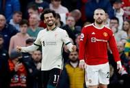 Mohamed Salah a Luke Shaw.