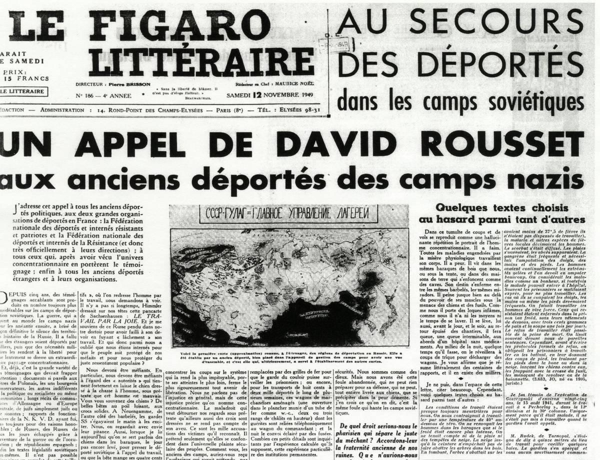 Výzva Davida Rousseta na podporu vězňů gulagu, kterou vyslyšel F. Polák a rozhodl se svědčit u soudu v Paříži.