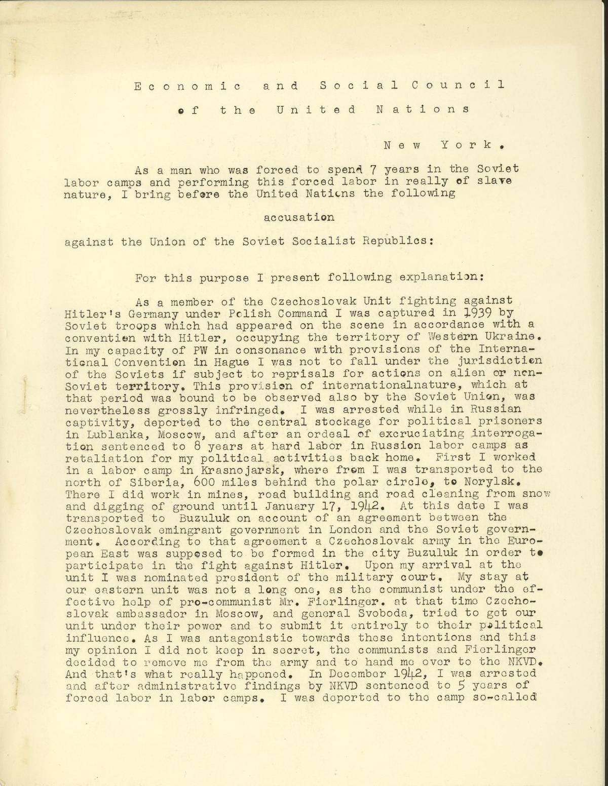 Titulní strana obvinění Sovětského svazu ze zneužívání politických vězňů v gulagu, které František Polák v roce 1953 adresoval OSN.