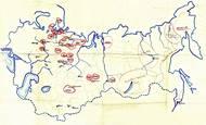 Jedna z map táborů gulagu, které vznikly u československé vojenské mise v SSSR na základě výpovědí propuštěných Čechoslováků.