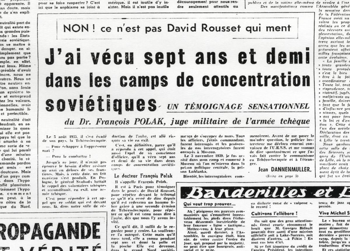 Francouzský deník Laube otiskl 17 prosince 1950 příběh F. Poláka, který den před tím vystoupil u pařížského soudu.