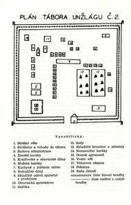 Vlastnoruční nákres jednoho z táborů Unžlagu z pera Františka Poláka, který zde byl vězněn v letech 1943-1947