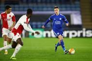 Luke Thomas v odvetě 2. kola Evropské ligy Leicester - Slavia