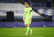 Překonaný Kasper Schmeichel v odvetě 2. kola Evropské ligy Leicester - Slavia