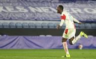 Abdallah Sima slaví gól v odvetě 2. kola Evropské ligy Leicester - Slavia