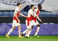 Slávisté slaví gól v odvetě 2. kola Evropské ligy Leicester - Slavia