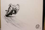 Marco Simoncelli na kresbě tužkou amerického umělce Alexe Wakefielda.