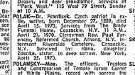 Oznámení o úmrtí Františka Poláka otištěné příbuznými 26. 4. 1970 v New York Times.