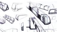 Skici ukazují exteriér vozů.