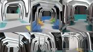 Bláhová také počítala s tím, že by se jedna souprava metra skládala z pěti vozů, které by byly plně průchozí. Celkově by tak souprava měřila 95 metrů a poskytla by 180 míst k sezení a zhruba 720 míst ke stání. Snímek ukazuje postupný vývoj návrhu.