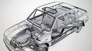 Technický řez modelovou řadou Škoda 742 s motorem vzadu, chladičem vpředu a pohonem zadních kol.