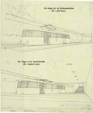 Návrhy vozů rychlodráhy (vůz v uliční stanici a tunelové stanici), rok 1940.