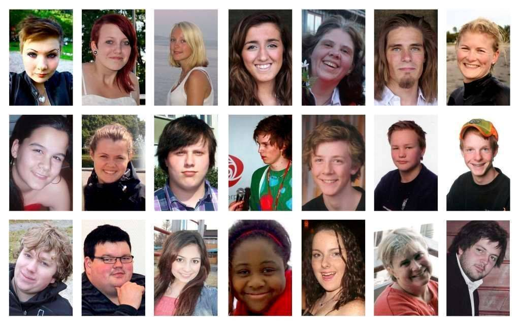 Koláž portrétů některých Breivikových obětí.